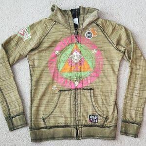 Affliction reversible hoodie jacket